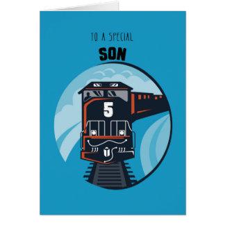 Son 5th Birthday Train, Little Boy, Blue Card