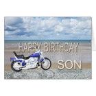Son, a birthday card with a motor bike