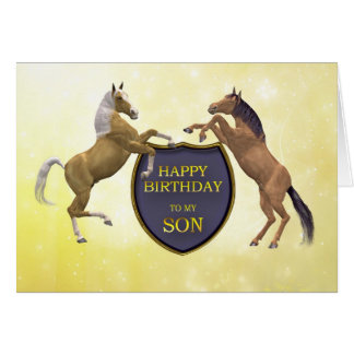 Son, a birthday card with rearing horses