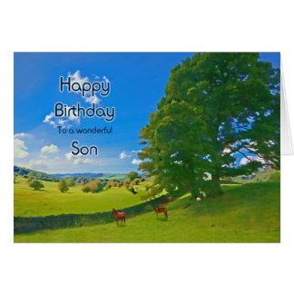 Son, a Pastoral landscape Birthday card
