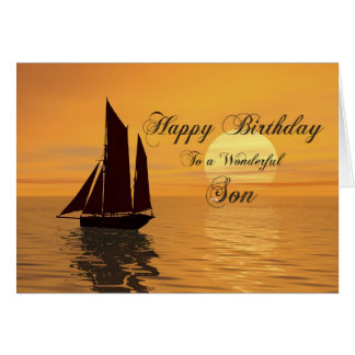 Son, a sunset yacht birthday card