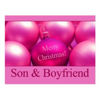 son and boyfriend Merry Christmas card Post Card