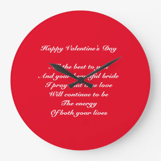 Son and bride Valentine's day Large Clock