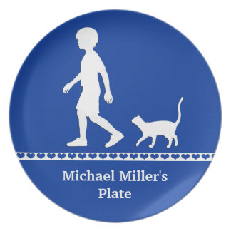Son and Cat: Young Boy and Kitty Dinner Plate