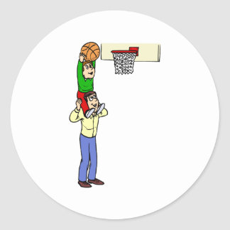 Son and Dad playing basketball Classic Round Sticker