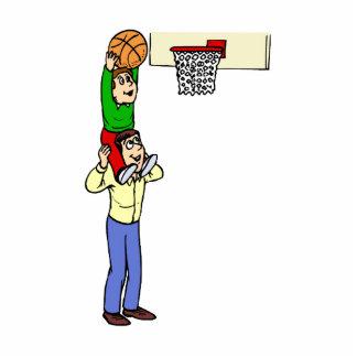 Son and Dad playing basketball Photo Cutout