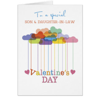 Son And Daughter In Law Valentine Rainbow Clouds Card