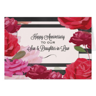 Son and Daughter-in-Law Wedding Anniversary Roses Card