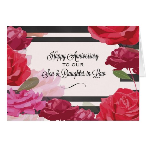 Son and daughter in law wedding anniversary roses card