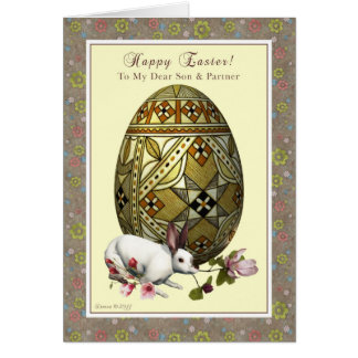 Son and Partner Easter - Egg and Bunny Card