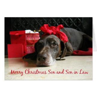 Son and Son in Law merry christmas pointer and gif Card
