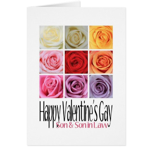 Son and Son in Law Valentine's Gay, Rainbow Roses Greeting Card