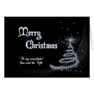 Son and wife, a Black and white Christmas Card