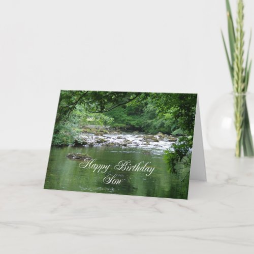 Son birthday card showing a river