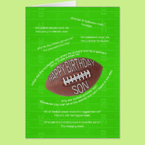 Son birthday, really bad football jokes card