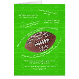 Son birthday, really bad football jokes greeting card