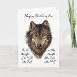 """Son Birthday -Wolf and Pack Quote Card<br><div class=""""desc"""">For the strength of the Wolf is the Pack  and the strength of the Pack is the Wolf Wolf and Pack Quote - Animal Collection</div>"""