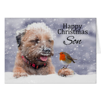 Son, Christmas, Border Terrier Dog In The Snow Card