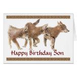 Son Cute Wolf Pups  Birthday Card
