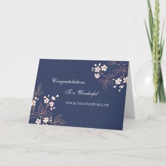 Son & Daughter In Law Wedding Congratulations Blue Card