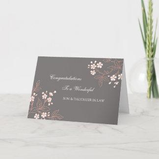 Son & Daughter In Law Wedding Congratulations Grey Card
