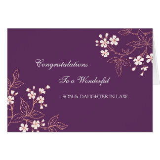 Son & Daughter In Law Wedding Congratulations Plum Card