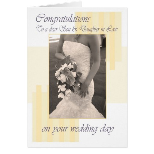Wedding Gift Ideas For My Daughter And Son In Law : Son & Daughter in Law Wedding day cream congratula Greeting Card ...