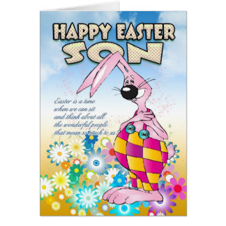 Son Easter Card - Easter Bunny Flowers