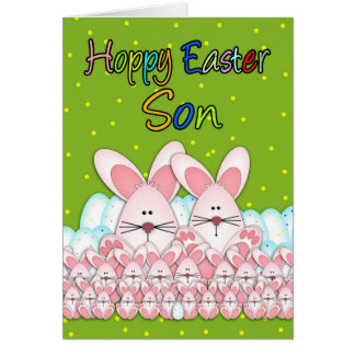 Son Easter Card With Easter Bunnies And Eggs