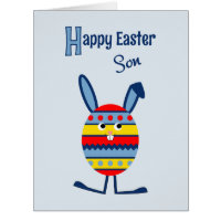 Son Easter egg bunny blue Card