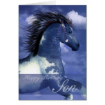 Son Equine Birthday Card North American Indian Sty