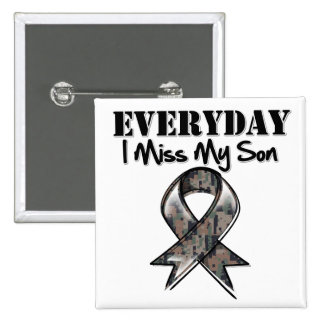 Son - Everyday I Miss My Hero Military 2 Inch Square Button