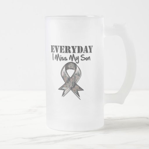 Son - Everyday I Miss My Hero Military 16 Oz Frosted Glass Beer Mug