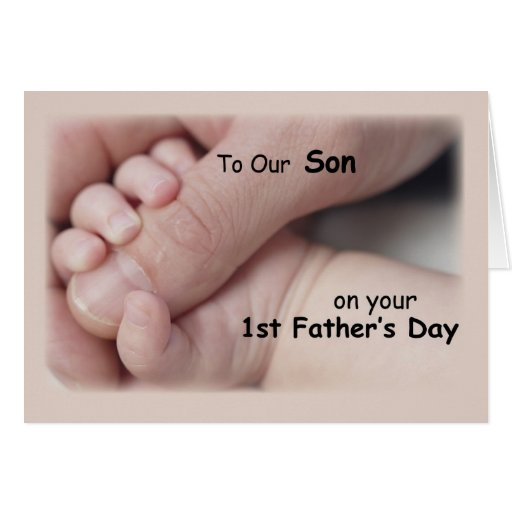 Son, First Father's Day, Hand in Baby Hand Greeting Card