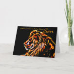 "Son Fractal Birthday Lion, Neon Line Art Fractal Card<br><div class=""desc"">Son Fractal Birthday Lion,  Neon Line Art Fractal Lion</div>"