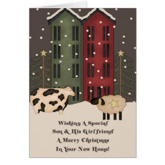 Son & Girlfriend 1st Christmas in New Home Card