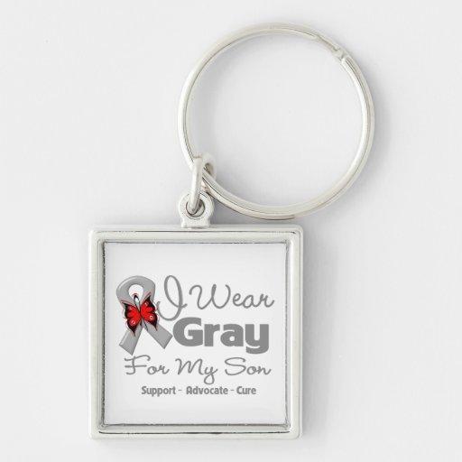 Son - Gray Ribbon Awareness Key Chains