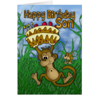 Son Happy Birthday with monkey holding cake Card
