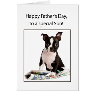 Son, Happy Father's Day, Boston Terrier Dog with N Card