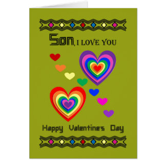 Son Happy Valentineu0026#39;s Day / Colorful Hearts Card