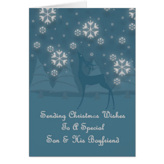 Son & His Boyfriend Reindeer Christmas Card