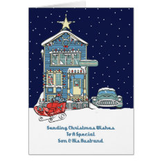 Son & His Husband Sending Christmas Wishes Card at Zazzle