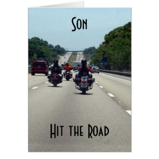 **SON** HIT THE ROAD=MOTORCYCLE STYLE BIRTHDAY CARD
