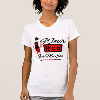 Son  -  I Wear Red Ribbon Heart Disease Shirt