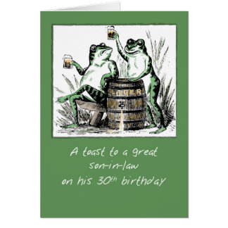 Son-in-Law 30th Birthday Frogs Toasting with Beer Card