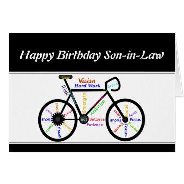 countrymousestudio Son-in-Law Birthday Motivational Bike Bicycle Card