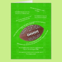 Son-in-law birthday, really bad football jokes card