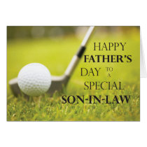 Son-in-Law Father's Day Golf Ball in Grass Card