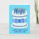 """Son in law Happy Birthday Card<br><div class=""""desc"""">A giant blue birthday cake,  iced and with a bow around it. The cake is covered in lit candles. The words 'Happy Birthday Son in law' accompany the image.</div>"""
