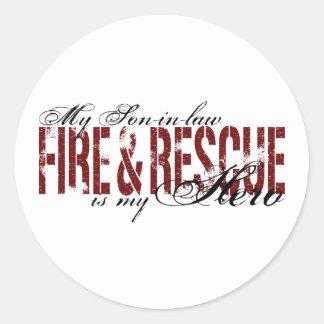 Son-in-law Hero - Fire & Rescue Classic Round Sticker